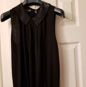 Armani black sleeveless top, embellished collar